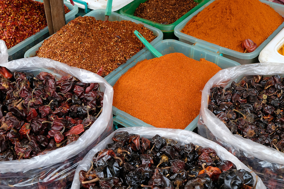 YANGON, MYANMAR - CIRCA DECEMBER 2013: Variety of spices in the street market of Yangon. (Daniel Korzeniewski)