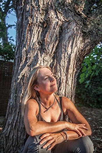 Yoga instructor and neighbor Ulrika Engman in her back yard on School Street in Calistoga (Clark James Mishler)