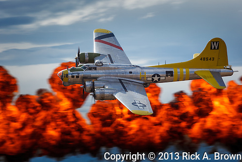 "Brent Conner flies Tillamook Air Museum's B17 ""Chuckie"" past the ""Wall of Fire"" at the Airshow of the Cascades. (Rick A. Brown)"