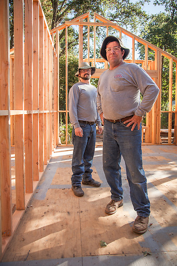 Hal Leggett and his apprentice, Chris Enos, at the site of a home remodel on Myrtle Street in Calistoga (Clark James Mishler)