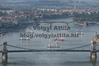 Red Bull Air Race international air show practice runs over the river Danube, Budapest preceding the anniversary of Hungarian state foundation. Hungary. Saturday, 18. August 2007. ATTILA VOLGYI (ATTILA VOLGYI)