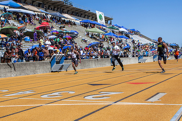 The 2013 Tommie Smith Youth Track Meet was held at Edwards Stadium on the University of California Berkeley campus on Saturday and Sunday June 1-2, 2013. Tommie Smith broke the world record at the 1968 Mexico City Olympics and became an international symbol for human rights when he received his Gold Medal. (bryan farley)