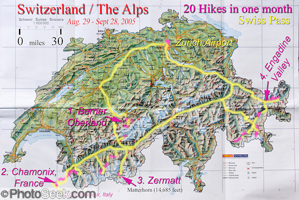 A geographic travel map of Switzerland shows a month itinerary starting from Zurich and doing 20 hikes in Berner Oberland, Chamonix (France), Zermatt, and Engadine Valley, Europe. (Tom Dempsey)