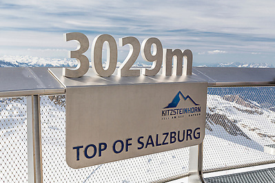 A sign on the observation deck at the top of the Kitzsteinhorn mountain in the Austria Alps.  The Kitzsteinhorn is a major skiing area close to Zell Am See offering an extended skiing season due to its high altitude.It is also a major tourist destination during the summer months. The observation deck overlooks the glacier and has breathtaking views over the Alps. (David Henderson)