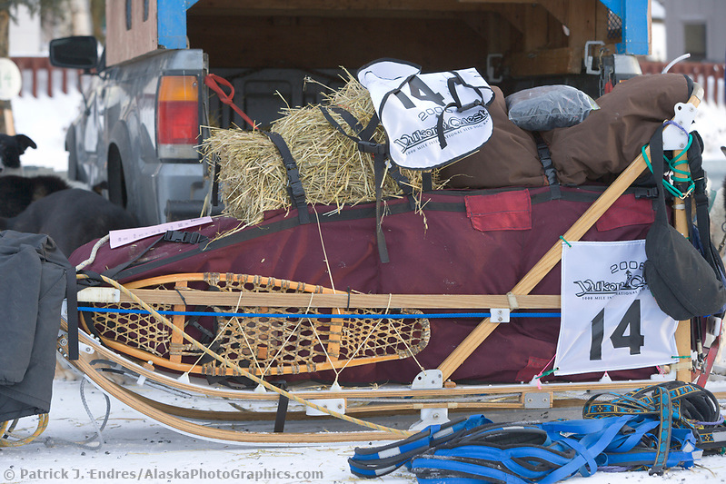 Michelle Phillips dog sled packed for the start of the 1000 mile Yukon Quest sled dog race between Fairbanks, Alaska and Whitehorse, Yukon. Dubbed the toughest dogsled race in the world. (Patrick J. Endres / AlaskaPhotoGraphics.com)
