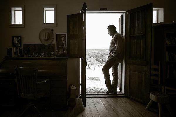 Robert Earl Keen, photographed in his scriptorium, where he reteats to do his songwriting, at his ranch near Medina, Texas. (Darren Carroll)
