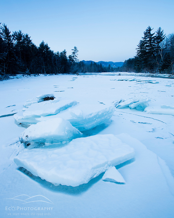 Ice on the Saco River in New Hampshire's White Mountains. (Jerry and Marcy Monkman)