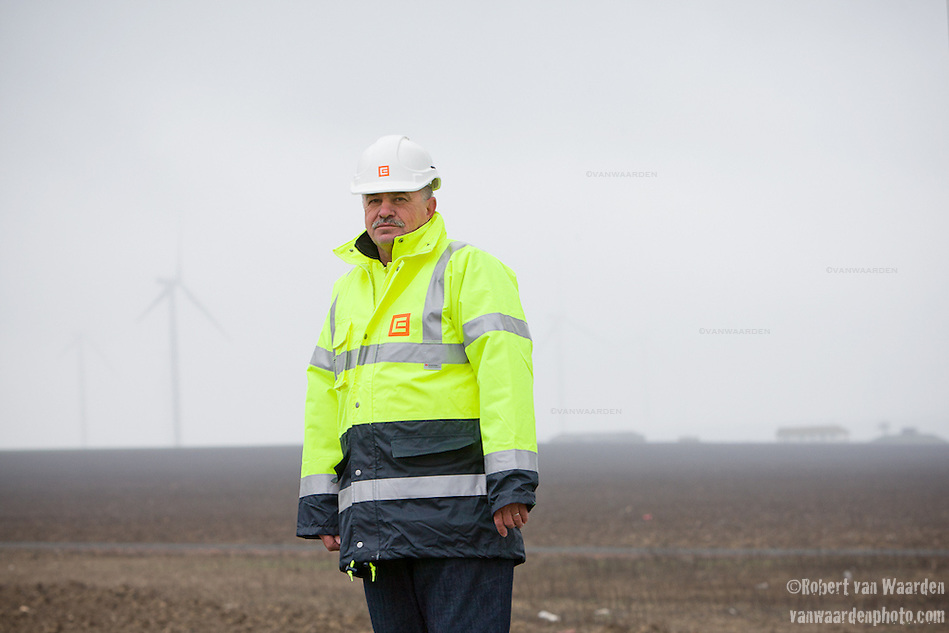Miklos Szilagyi, construction site manager for the largest wind farm in Europe, the 600mw Fantanele-Cogealac in Romania (Robert van Waarden)