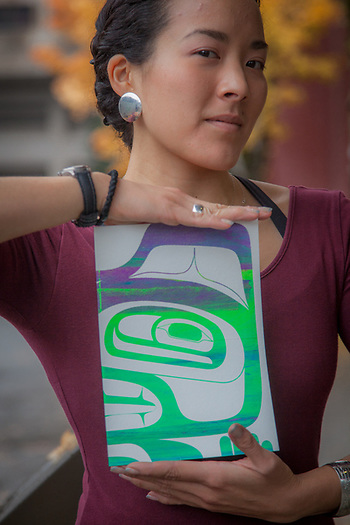 Artist Crystal Kaakeeyaa Whorl Demientieff at the ATIA Convention in Juneau, Alaska  907-780-4800 (© Clark James Mishler)