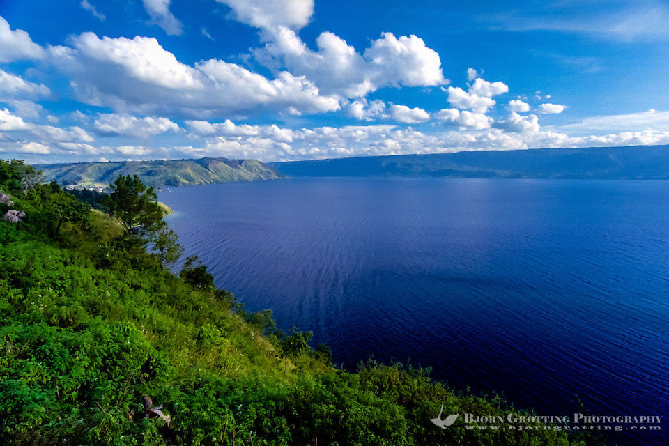 Indonesia, Sumatra. Toba. View of the Toba Lake from the mainland, Parapat side looking south. Danau Toba occupy an old caldera of a supervolcano that erupted 100.000 years ago. (Photo Bjorn Grotting)