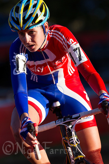 03 NOV 2012 - IPSWICH, GBR - Nikki Harris (GBR) of Great Britain makes her way round the course during the Elite Women&#039;s European Cyclo-Cross Championships in Chantry Park, Ipswich, Suffolk, Great Britain (PHOTO (C) 2012 NIGEL FARROW) (NIGEL FARROW/(C) 2012 NIGEL FARROW)