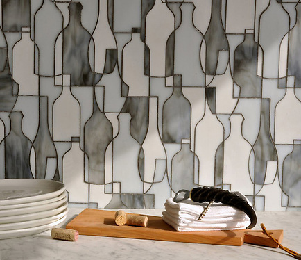 Bottles, a glass waterjet mosaic shown in Moonstone, Opal and Tourmaline, is part of the Erin Adams Collection for New Ravenna Mosaics. (Picasa)