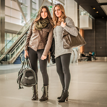 Kristina Perkovic and her daughter Channel at the Detroit Metro Airport, Michigan (Clark James Mishler)
