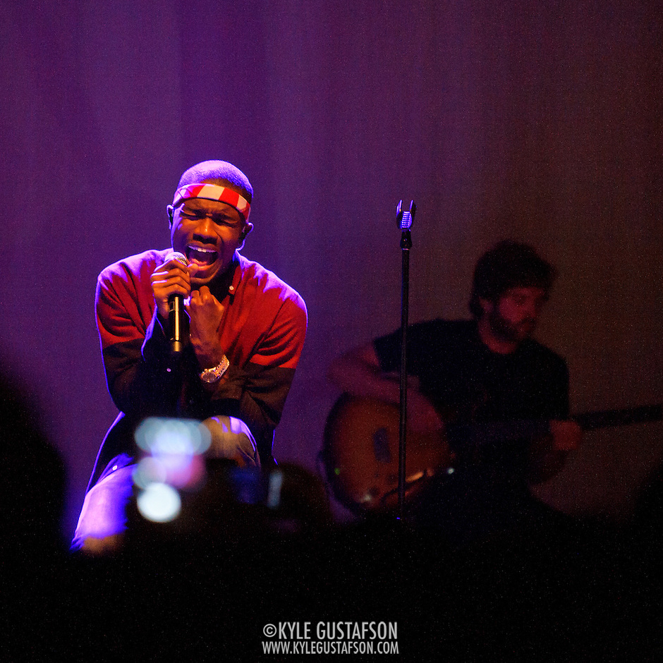 WASHINGTON, DC - July 23rd, 2012 - R&amp;B sensation Frank Ocean performs during a sold-out show at the 9:30 Club in Washington, D.C. Ocean, who recently declared that he is gay, has received widespread acclaim for his debut album, Channel Orange.(Photo by Kyle Gustafson/For The Washington Post) (Kyle Gustafson/For The Washington Post)