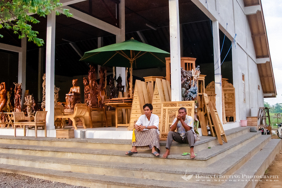 Bali, Gianyar, Mas. For woodcarvings and furniture of good quality Mas is the place. Many shops like this one can be found along the main road. (Bjorn Grotting)