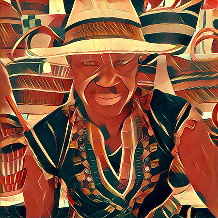 Prisma rendition of Sia and his baskets at the Calistoga Saturday Market (Clark James Mishler)