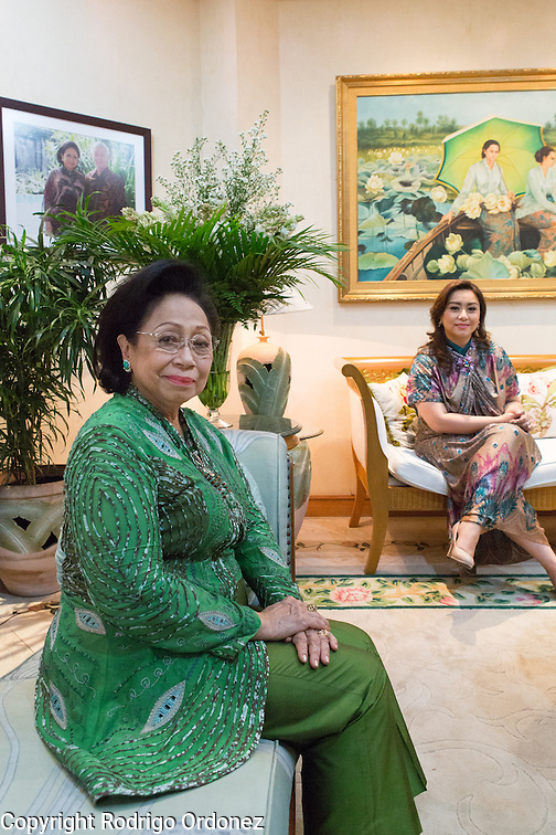 Martha Tilaar (left), founder of the Martha Tilaar Group, and her daughter Wulan Tilaar Widarto pose for a portrait at Martha Tilaar's office in East Jakarta, Indonesia, on July 2, 2015. (Rodrigo Ordonez)