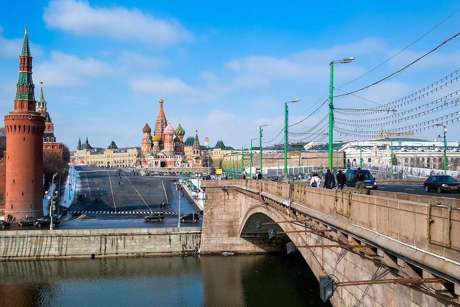 MOSCOW - CIRCA MARCH 2013: Bridge leading to the Red Square in Moscow circa 2013. With a population of more than 11 million people is one the largest cities in the world and a popular tourist destination. (Daniel Korzeniewski)