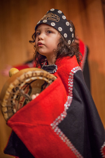 Four year old dancer, drummer and member of the Thunderbird Clan, Thea Duncan from Angoon at the SeaAlaska Heritage Center during the ATIA Convention in Juneau, Alaska gracegduncan77@gmail.com (© Clark James Mishler)
