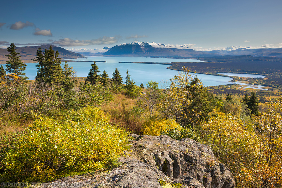 Overview of Naknek lake and the Kejulik mountains from Dumpling mountain, Katmai National Park, Alaska. (Patrick J. Endres / AlaskaPhotoGraphics.com)