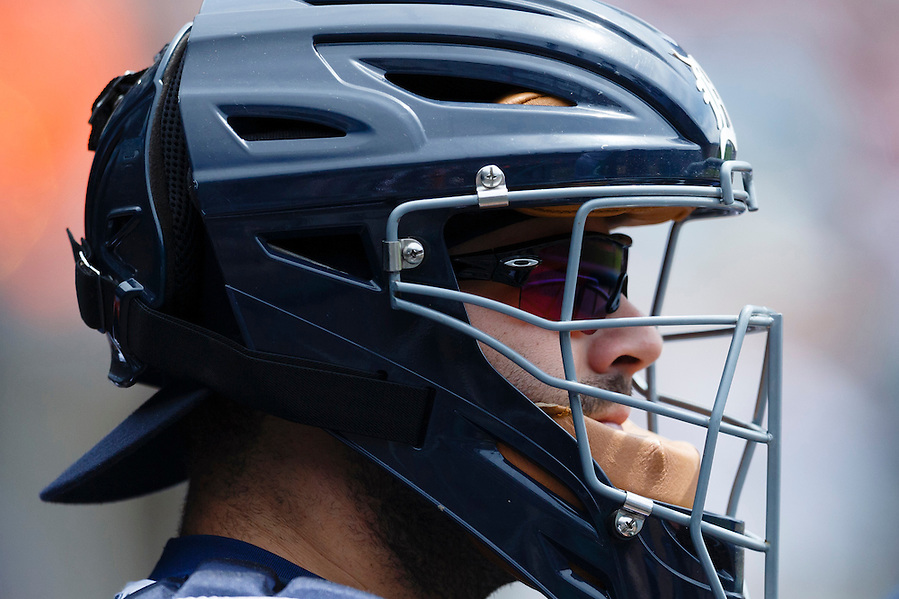 Aug 6, 2015; Detroit, MI, USA; Detroit Tigers catcher Alex Avila (13) in the dugout before the game against the Kansas City Royals at Comerica Park. Mandatory Credit: Rick Osentoski-USA TODAY Sports (Rick Osentoski/Rick Osentoski-USA TODAY Sports)
