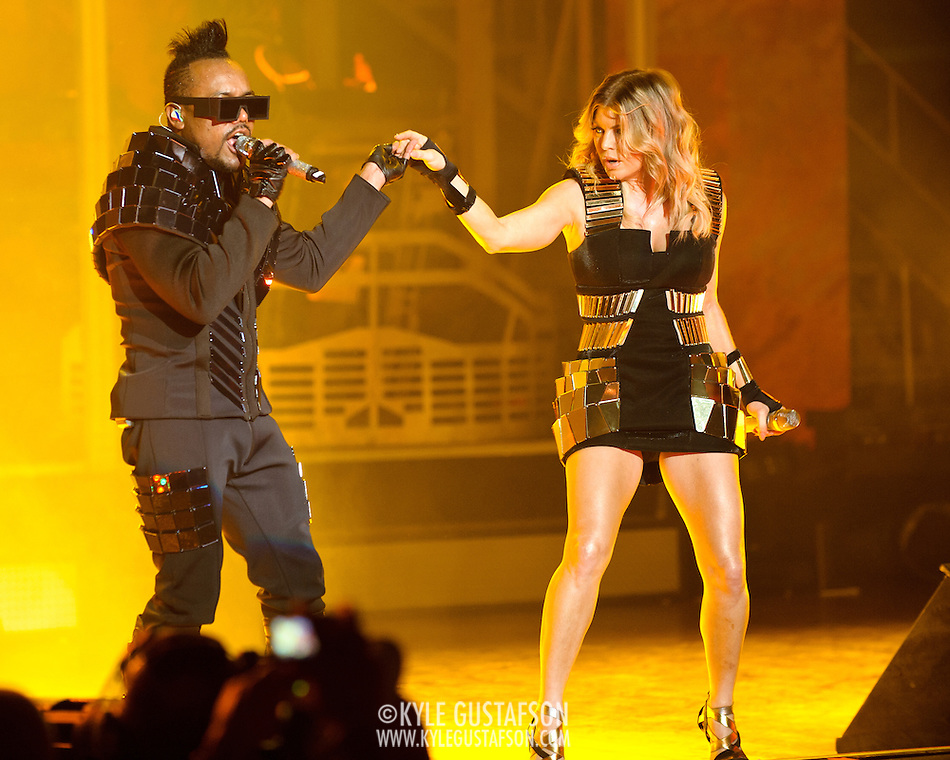 "COLUMBIA, MD - June 9th, 2011: apl.de.ap and Fegie of the Grammy Award-wining hip-hop group The Black Eyed Peas perform at Merriweather Post Pavilion in Columbia, MD. The group recently released the single ""Don't Stop The Party"" from their sixth studio album, The Beginning. (Photo by Kyle Gustafson/For The Washington Post) (Kyle Gustafson/FTWP)"
