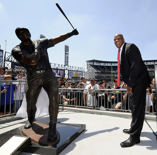 CHICAGO - JULY 31:  Retired player Frank Thomas #35 of the Chicago White Sox reacts after a statue in his honor is unveiled prior to the game against the Boston Red Sox on Sunday, July 31, 2011 at U.S. Cellular Field in Chicago, Illinois. (Photo by Ron Vesely/MLB Photos via Getty Images) *** Local Caption *** Frank Thomas (Ron Vesely/MLB Photos via Getty Images)