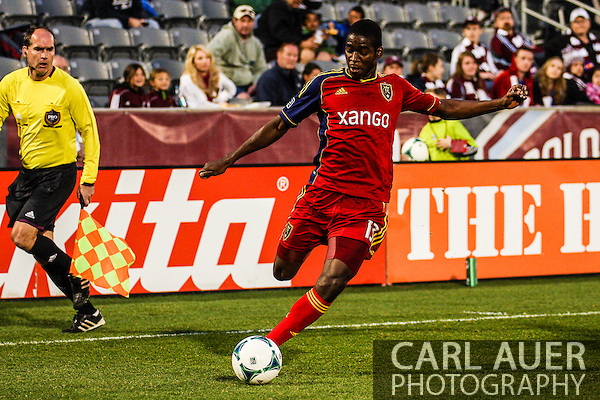 April 6th, 2013 - Real Salt Lake forward Olmes Garcia (13) with the ball in the second half of the MLS match between Real Salt Lake and the Colorado Rapids at Dick's Sporting Goods Park in Commerce City, CO (Carl Auer/Newsport)