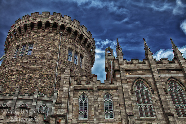 Looking up at a portion of Dublin Castle in Ireland. (Ian C Whitworth)