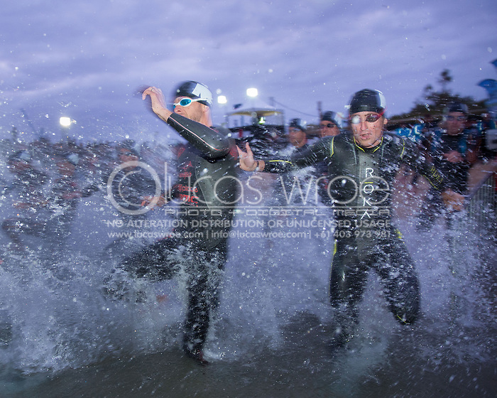 Dirk Bockel (LUX) and Josh Rix (AUS), March 23, 2014 - Ironman Triathlon : Swim Course. Ironman Melbourne Race Race, Frankston Swim Course/Transition, Melbourne, Victoria, Australia. Credit: Lucas Wroe (Lucas Wroe)