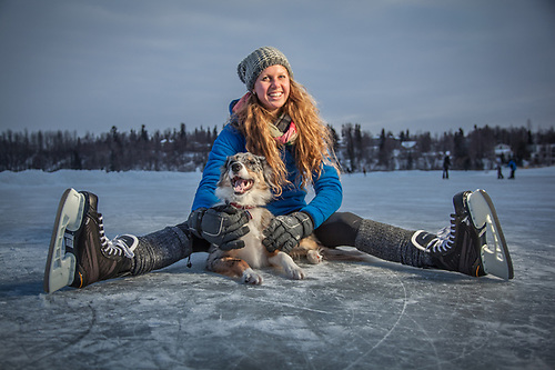 Holly Furman and Molly at Westchester Lagoon, Anchorage. (© Clark James Mishler)