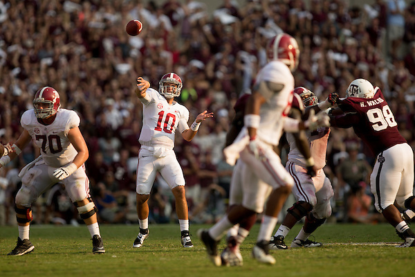 COLLEGE STATION, TX - SEPTEMBER 14: A.J. McCarron #10, Alabama at Texas A&M, photographed at Kyle Field in College Station, Texas on September 14 2013. Photograph © 2013 Darren Carroll (Darren Carroll)