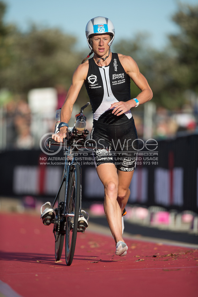 Corinne ABRAHAM (USA). Ironman Asia Pacific Championship Melbourne. Triathlon. Frankston And St Kilda, Melbourne, Victoria, Australia. 24/03/2013. Photo By Lucas Wroe (Lucas Wroe)