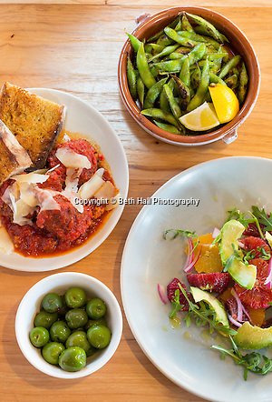 Wood fired edamame, marinated olives, salad and meatballs at Oven and Tap on Friday, February 19, 2016, in Bentonville, Arkansas. Beth Hall for the New York Times (Beth Hall)