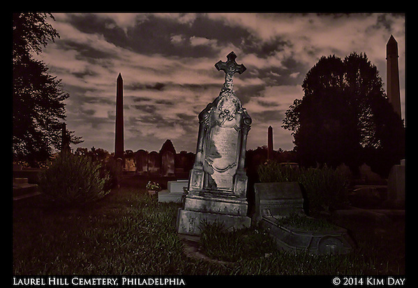 Tilted Monuments Laurel Hill Cemetery - Philadelphia July 2014 (Kim Day)
