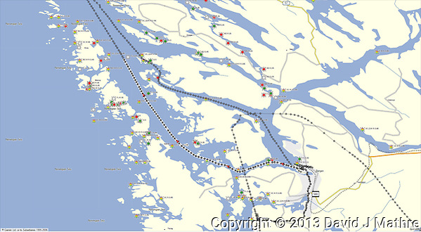 GPS Track: Northbound Hurtigruten MV Nordkapp Day 1 (23.6 miles) (David J Mathre)