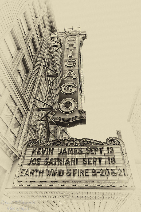 An antique style look at the famous Chicago Theatre sign. (Ian C Whitworth)