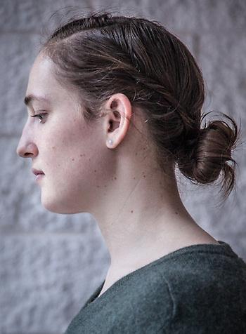 Production Assistant Sarah Glaser at Alaska Public Media, Anchorage (© Clark James Mishler)