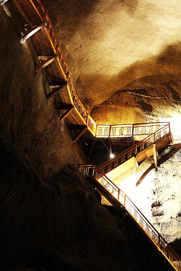 Staircase going further and further beneath the earth at the Wieliczka Salt Mines