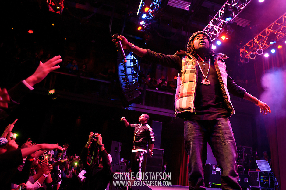 SILVER SPRING, MD - January 1st, 2012 - Rapper and D.C. native Wale (right) and his hype man Tre performs at the Fillmore Silver Spring in Silver Spring, MD. Wale released his sophomore album, Ambition, in November. (Photo by Kyle Gustafson/For The Washington Post). (Kyle Gustafson/FTWP)