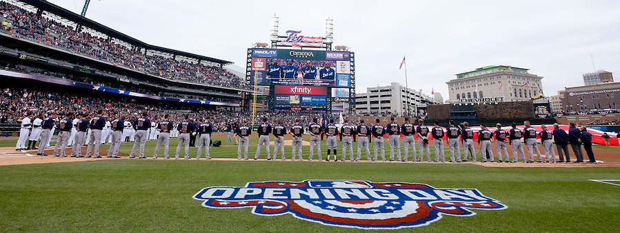 Apr 6, 2015; Detroit, MI, USA; General view as the Four Tops perform the national anthem before the game between the Detroit Tigers and the Minnesota Twins at Comerica Park. Mandatory Credit: Rick Osentoski-USA TODAY Sports (Rick Osentoski/Rick Osentoski-USA TODAY Sports)