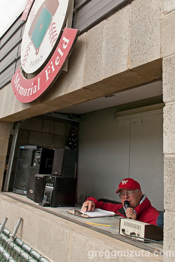 Announcer and scorekeeper Dale Emert during the Weiser-Vale baseball game on April 7, 2012 at Walter Johnson Memorial Field in Weiser, Idaho. Vale won the game 12-0 in five innings. (Gregg Mizuta)