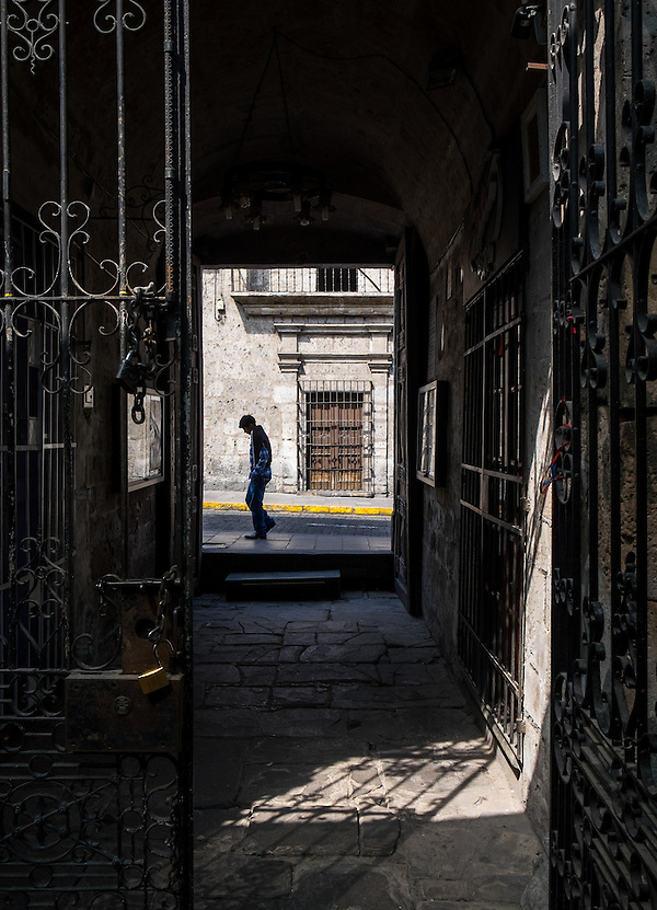 AREQUIPA, PERU - CIRCA APRIL 2014: View of typical iron works at the entrance of a colonial building of Arequipa. Arequipa is the Second city of Perú by population with 861,145 inhabitants and is the second most industrialized and commercial city of Peru. (Daniel Korzeniewski)
