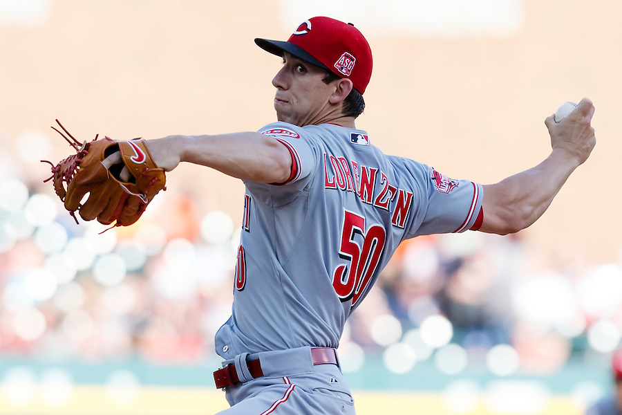 Jun 16, 2015; Detroit, MI, USA; Cincinnati Reds starting pitcher Michael Lorenzen (50) pitches in the first inning against the Detroit Tigers at Comerica Park. Mandatory Credit: Rick Osentoski-USA TODAY Sports (Rick Osentoski/Rick Osentoski-USA TODAY Sports)