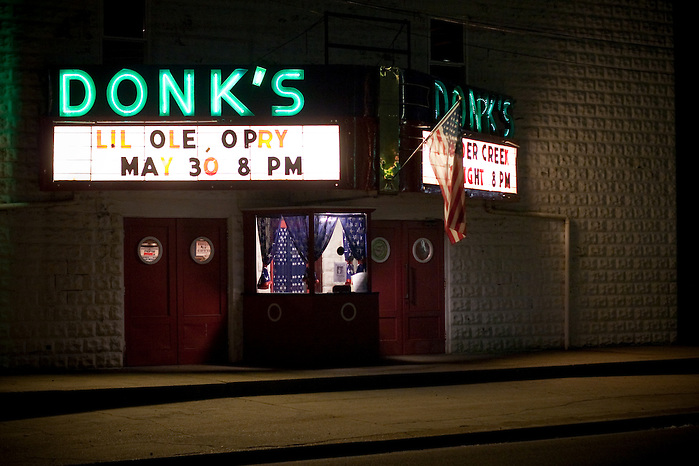 """Since 1975 Donk's theater in Matthews County Virginia has been featuring the 'Lil Old Opry' a live country music show featuring local acts and classic country music."" (Kathryn Wagner)"