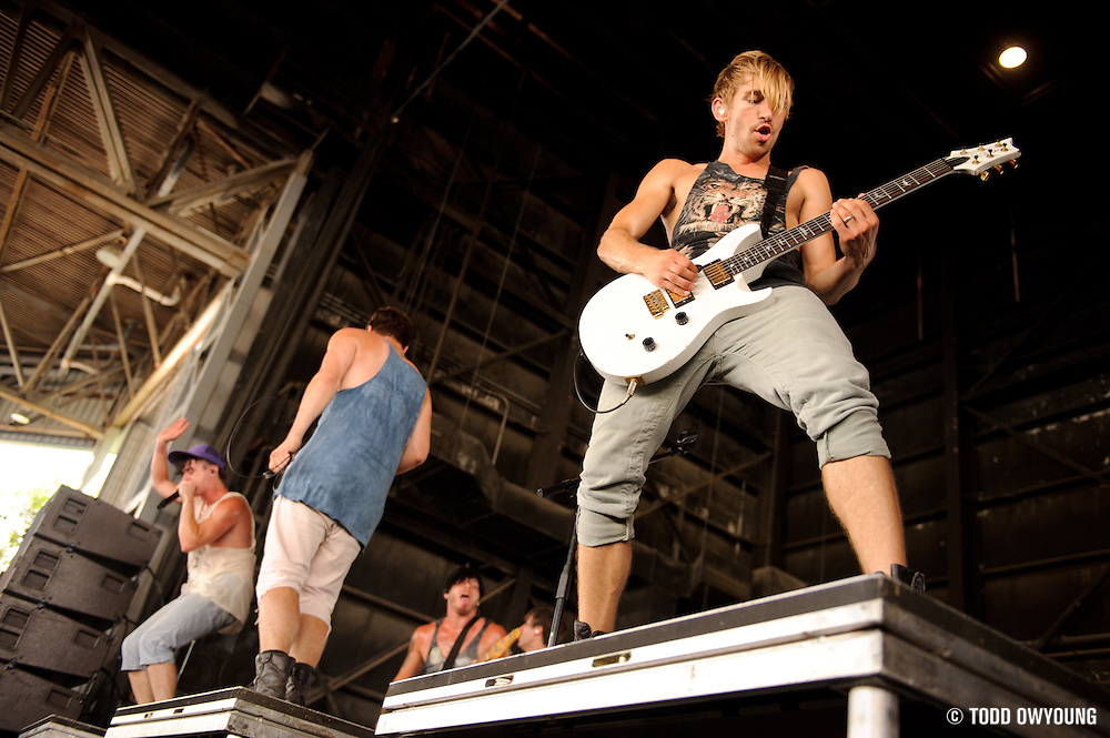 Family Force 5 performing on Warped Tour at Verizon Wireless Amphitheater in St. Louis, Missouri on August 3, 2011. © Todd Owyoung. (Todd Owyoung)