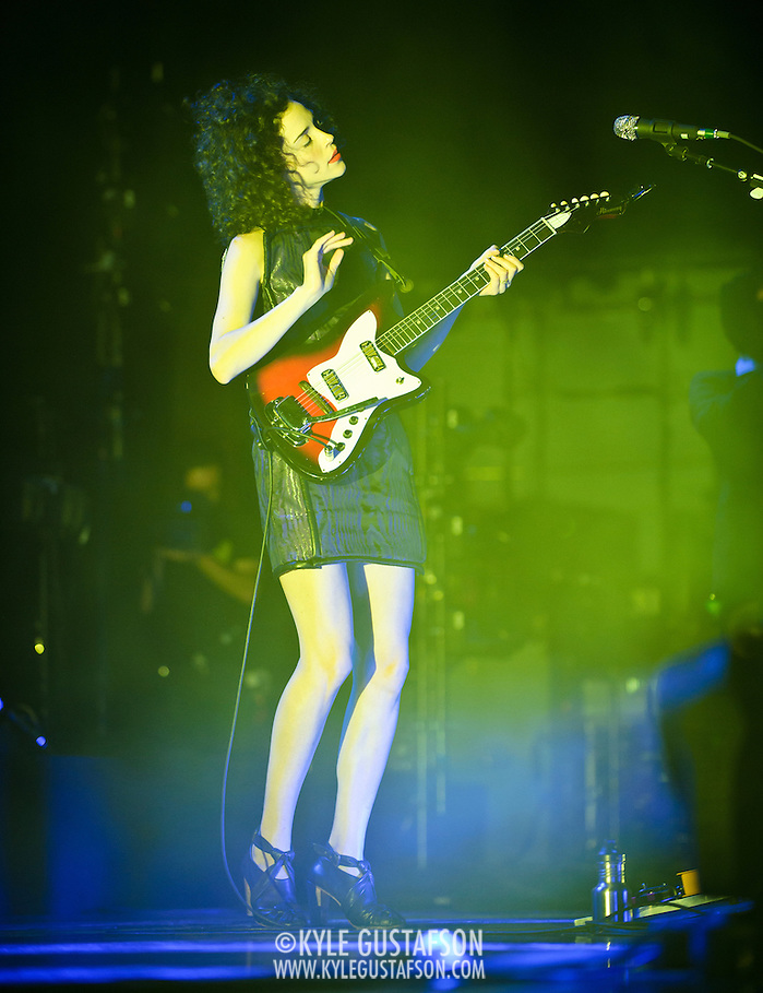 BETHESDA, MD - September 30th, 2012 - St. Vincent (right) performs at the Strathmore Music Hall as part of her joint tour with David Byrne. The pair released a collaborative album, Love This Giant, earlier this month. (Photo by Kyle Gustafson/For The Washington Post) (Kyle Gustafson/For The Washington Post)
