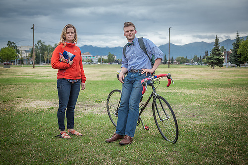 Friends Britta Hamre and Mark Hansen on the Delaney Park Strip in Anchorage. (© Clark James Mishler)