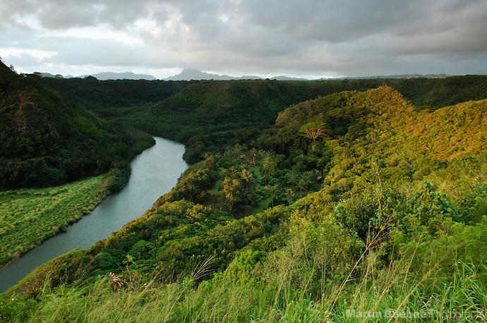 Morning light on the Wailua River, with a view of Haupu in the distance, Kauai, Hawaii (Martin Beebee Photography)