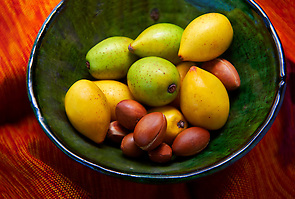 Fresh Argan nuts with outer skins and Argan nuts in their shells. (Paul E Williams)